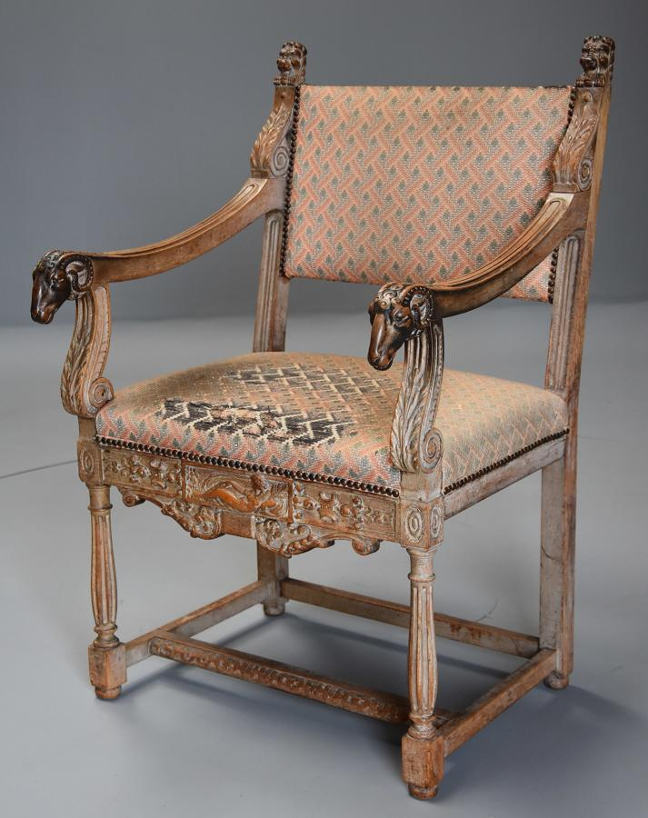 19thc highly decorative Renaissance style French limed oak armchair