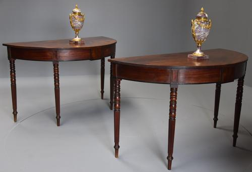 Pair of good quality early 19thc mahogany demi-lune console tables