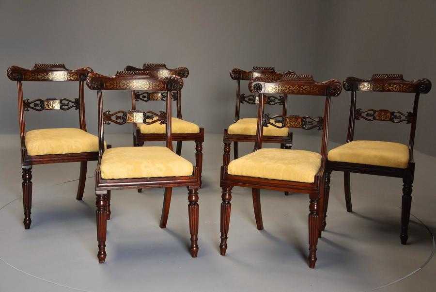 Fine quality set of six Regency rosewood brass inlaid dining chairs