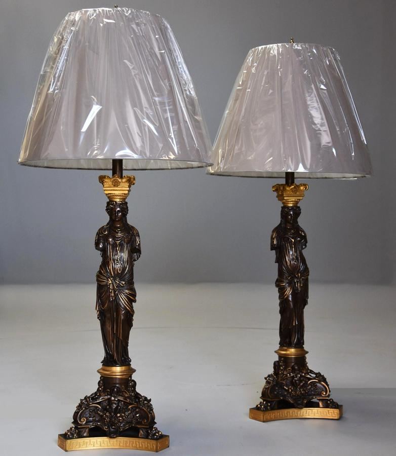 Large pair of superb quality bronze table lamps, signed Barbedienne