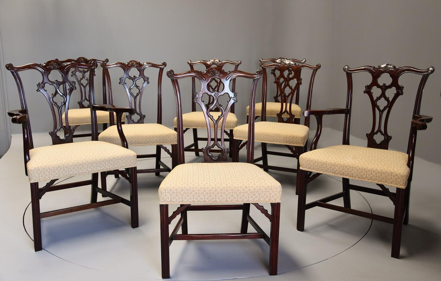 Set of eight late 19thc Chippendale style mahogany dining chairs