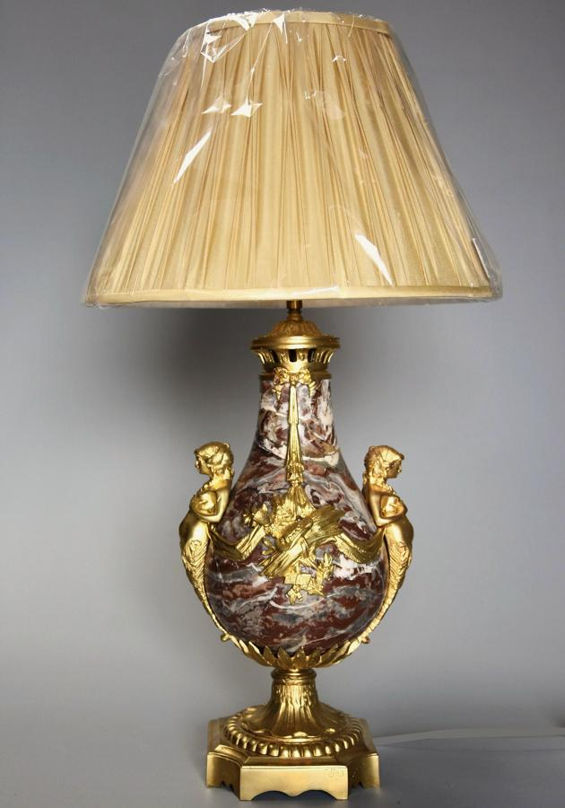 Large fine quality 19th century French marble & ormolu table lamp
