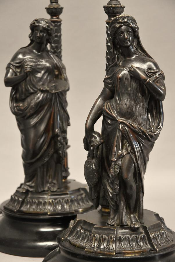 Pair of late 19thc bronze lamps in the form of Grecian figures
