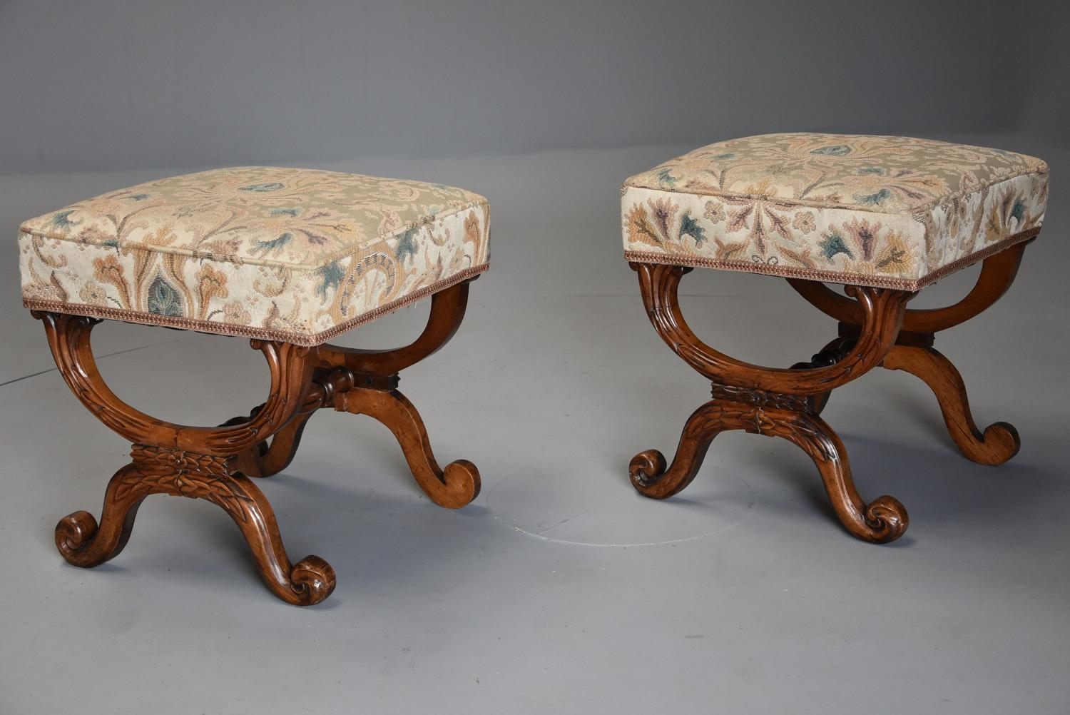 Pair of William IV rosewood X frame upholstered stools
