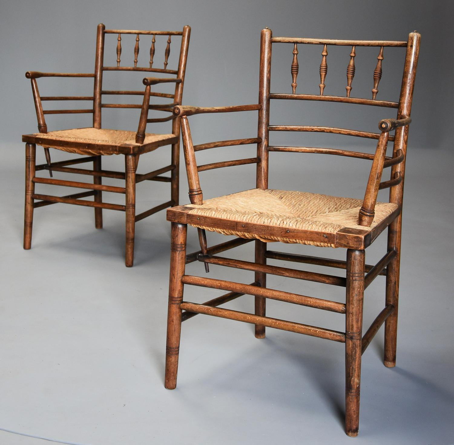Pair of late 19th century ash & beech Morris & Co. Sussex armchairs