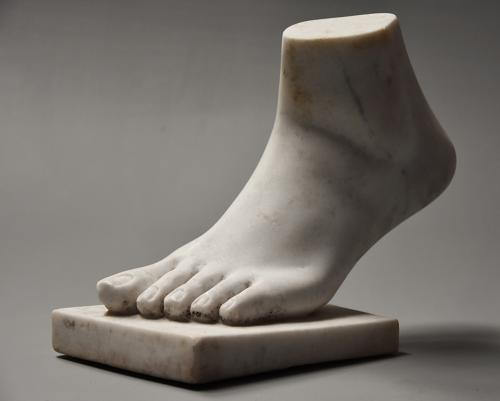 19thc Grand Tour style marble sculpture of a foot, after the Antique