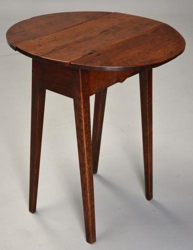 Rare late 18th century ash & oak drop leaf table of small proportions