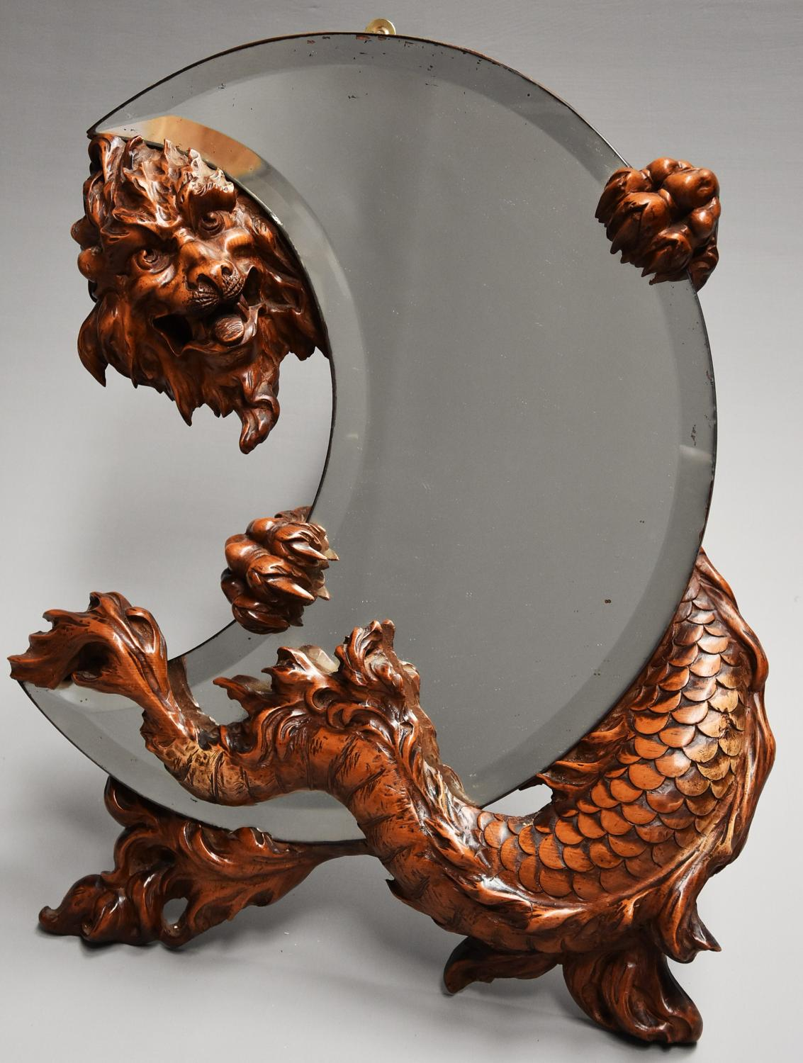 19thc superbly carved rare 'shishi' mirror attributed to Viardot