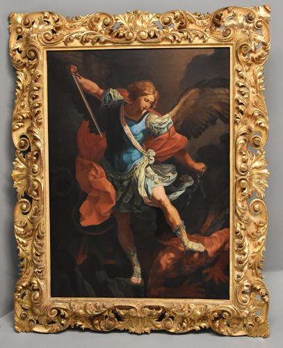 Large 19thc oil painting 'Michael defeating Satan' After Guido Reni