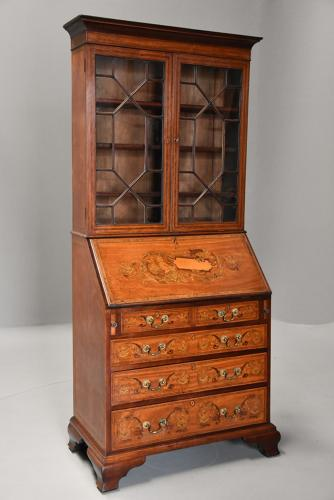 19thc satinwood & marquetry bureau bookcase of small proportions