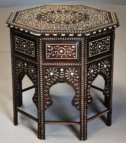 19th century profusely inlaid Anglo Indian octagonal table
