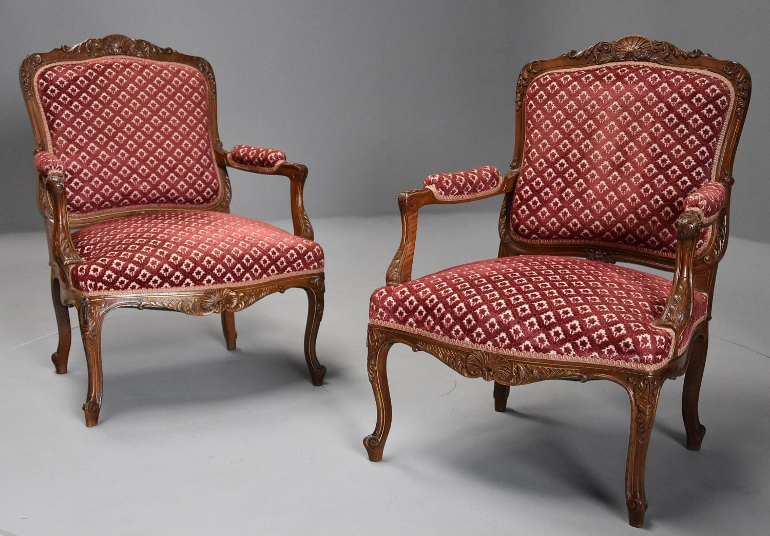 Pair of 19thc French walnut fauteuils in the Louis XV style