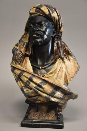 Highly decorative late 19thc life size Austrian bust of a Nubian man