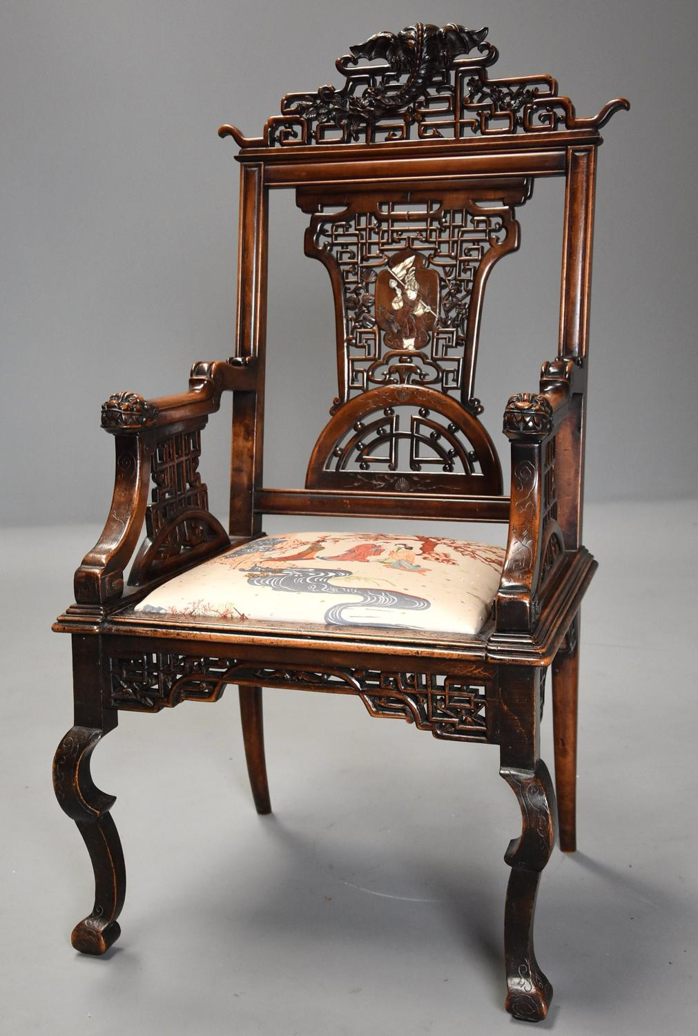 Exquisite rare French 19thc Japanese style armchair