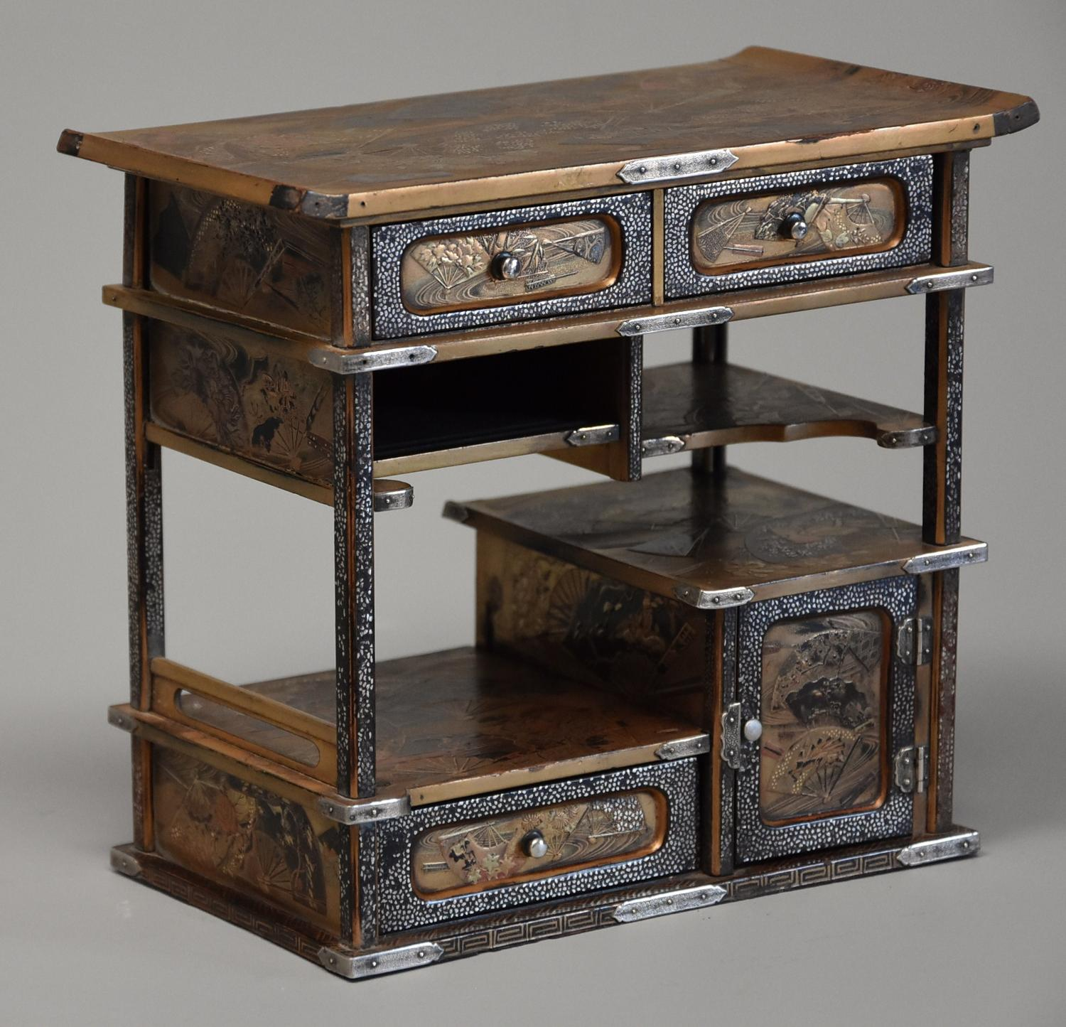 Small early 20thc lacquered Japanese shodana table cabinet