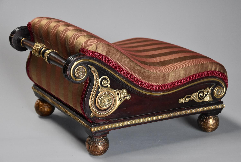 Rare Regency 'design book' mahogany scroll top foot stool