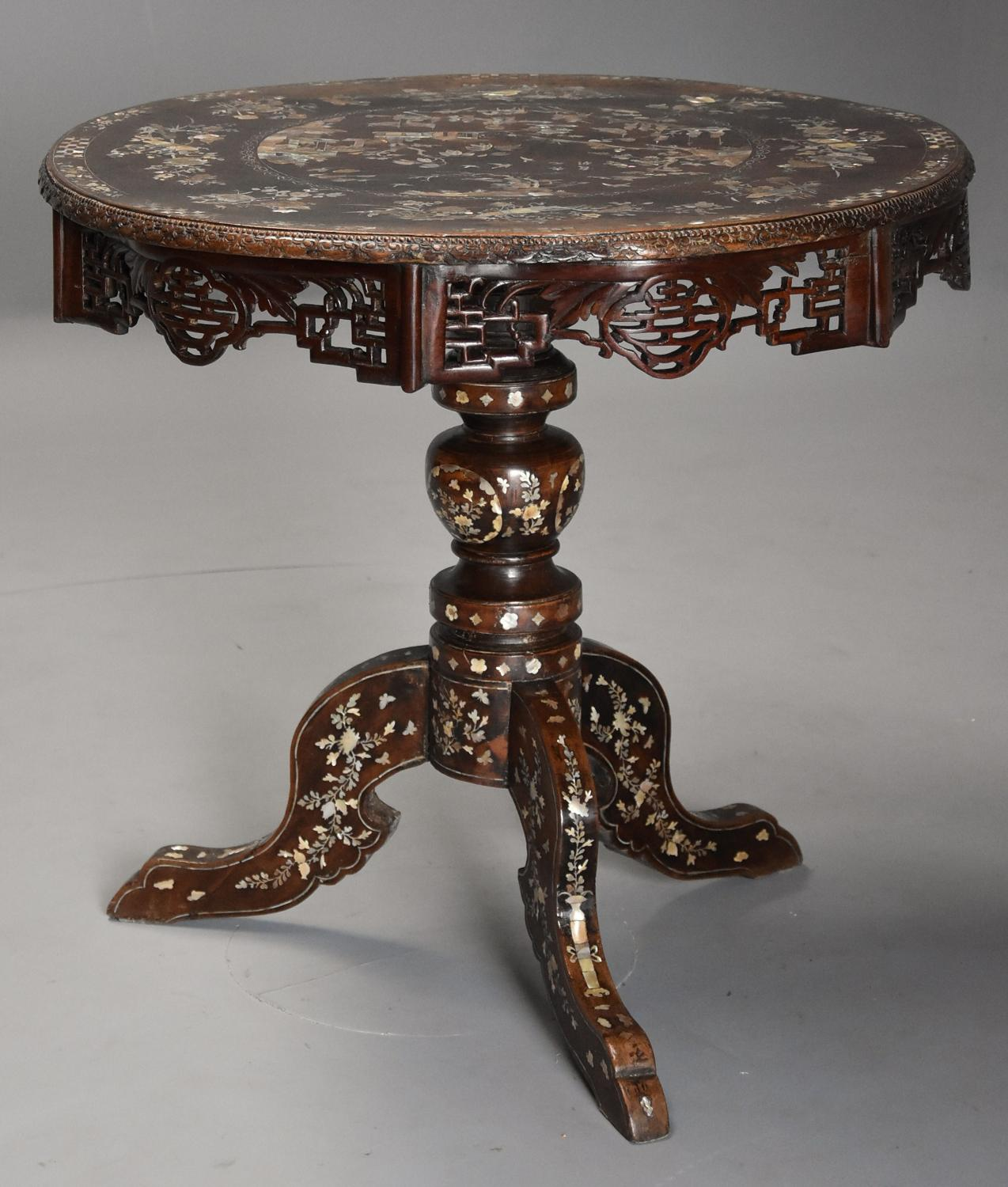 19thc Vietnamese hardwood mother of pearl inlaid circular centre table
