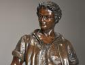 19thc large bronzed spelter figure of a farm labourer, signed Milliot - picture 1