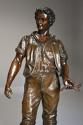 19thc large bronzed spelter figure of a farm labourer, signed Milliot - picture 2