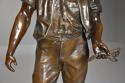 19thc large bronzed spelter figure of a farm labourer, signed Milliot - picture 3