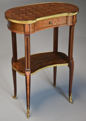 Late 19thc French parquetry Kingwood kidney shaped occasional table