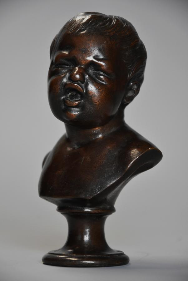 Charming fine quality small 19thc bronze bust of young child