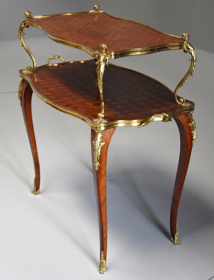 Fine quality French 19th century Kingwood two tier serpentine etagere