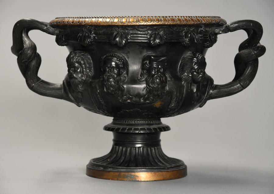 19thc Grand Tour bronze reduction 'Warwick Vase' after the Antique