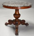 19th century French mahogany gueridon table with original marble top - picture 1