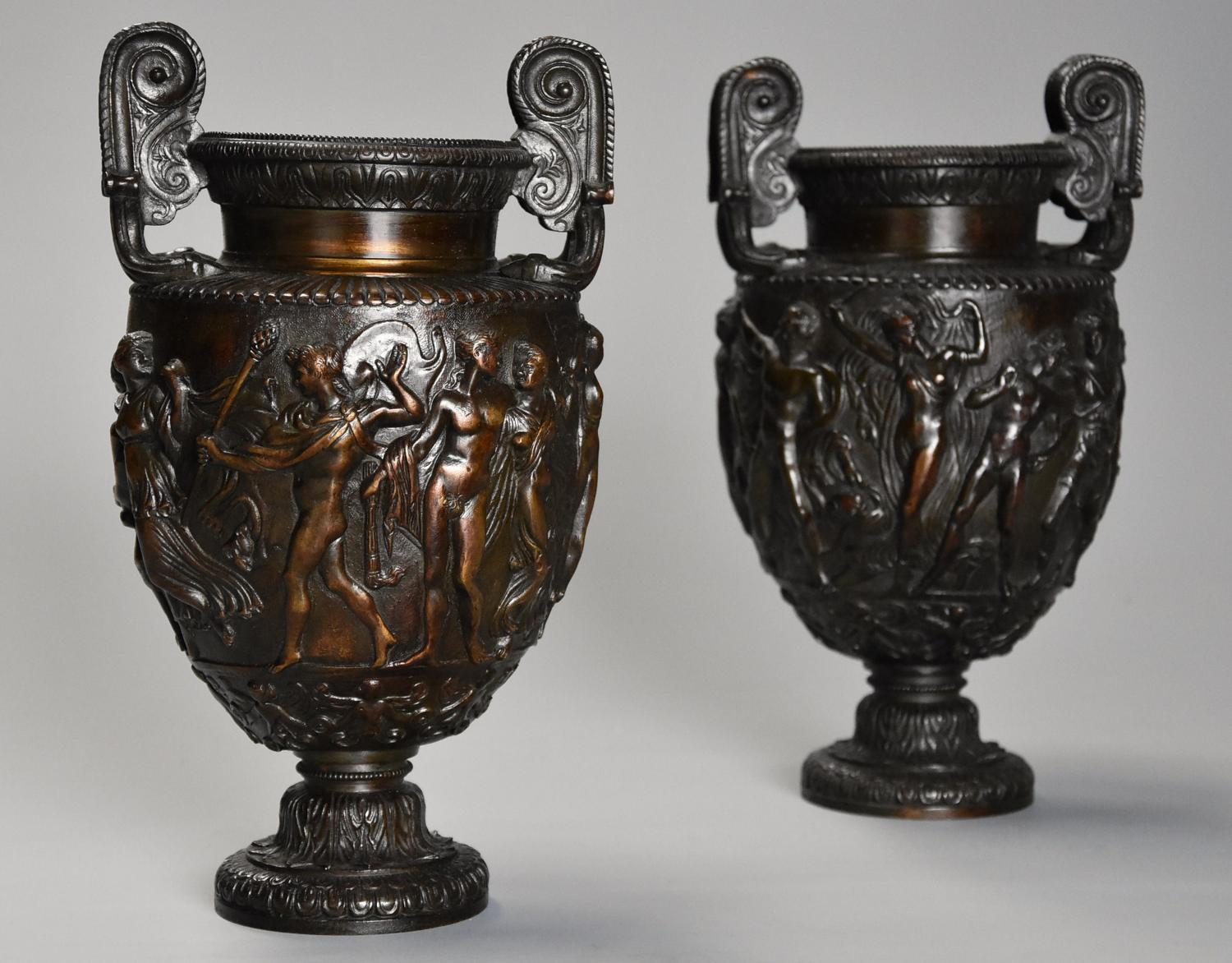 Pair of mid 19th century Grand Tour bronze 'Townley Vases'