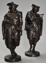 Superb pair of French 19thc bronze figures of minstrels or musicians - picture 1