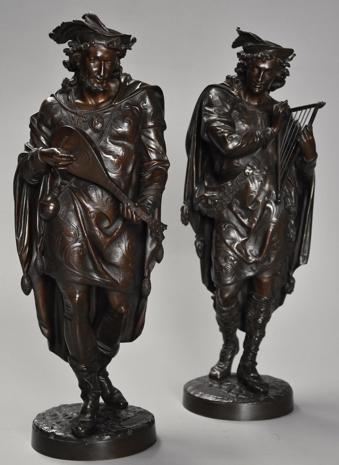 Superb pair of French 19thc bronze figures of minstrels or musicians