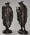 Superb pair of French 19thc bronze figures of minstrels or musicians - picture 10
