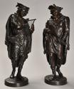 Superb pair of French 19thc bronze figures of minstrels or musicians - picture 2