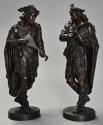 Superb pair of French 19thc bronze figures of minstrels or musicians - picture 4