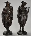 Superb pair of French 19thc bronze figures of minstrels or musicians - picture 6