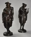 Superb pair of French 19thc bronze figures of minstrels or musicians - picture 7