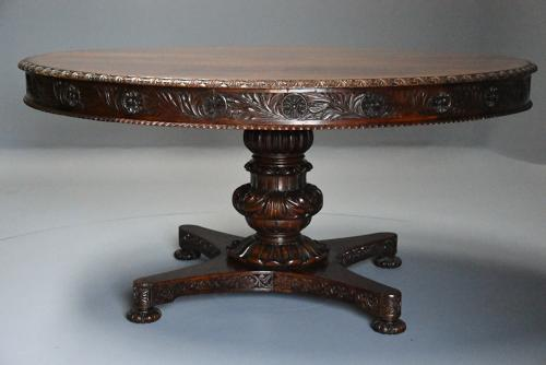 Mid 19th century large Anglo Indian padouk circular centre table