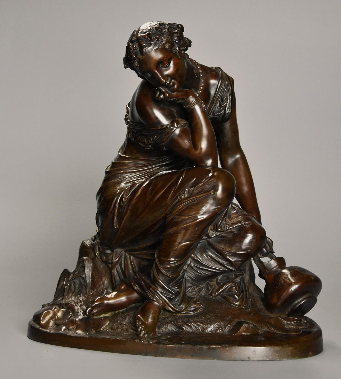 Mid 19th century French bronze 'Reflections' by Alexandre Schoenewerk