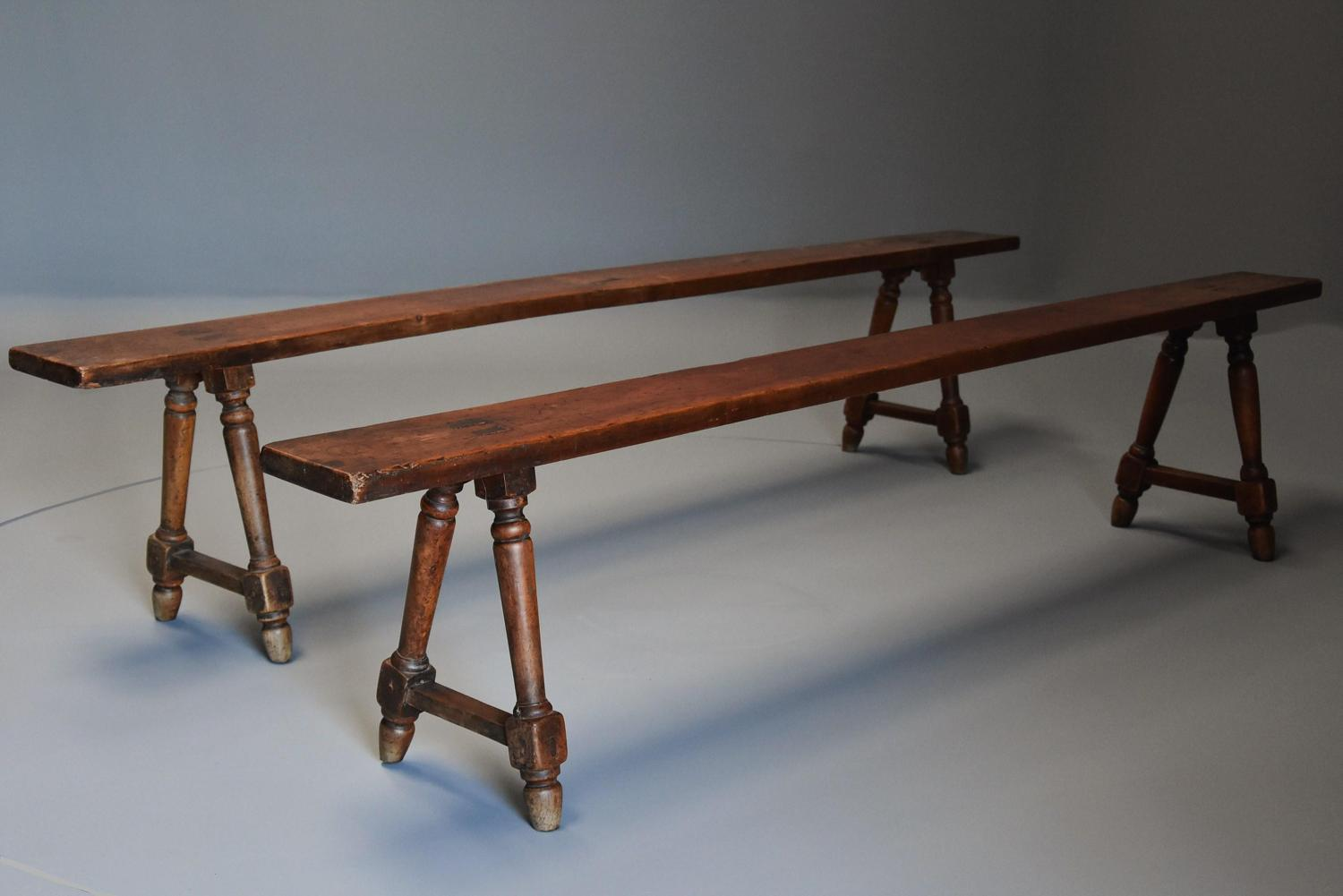 Pair of mid 19th century French fruitwood benches