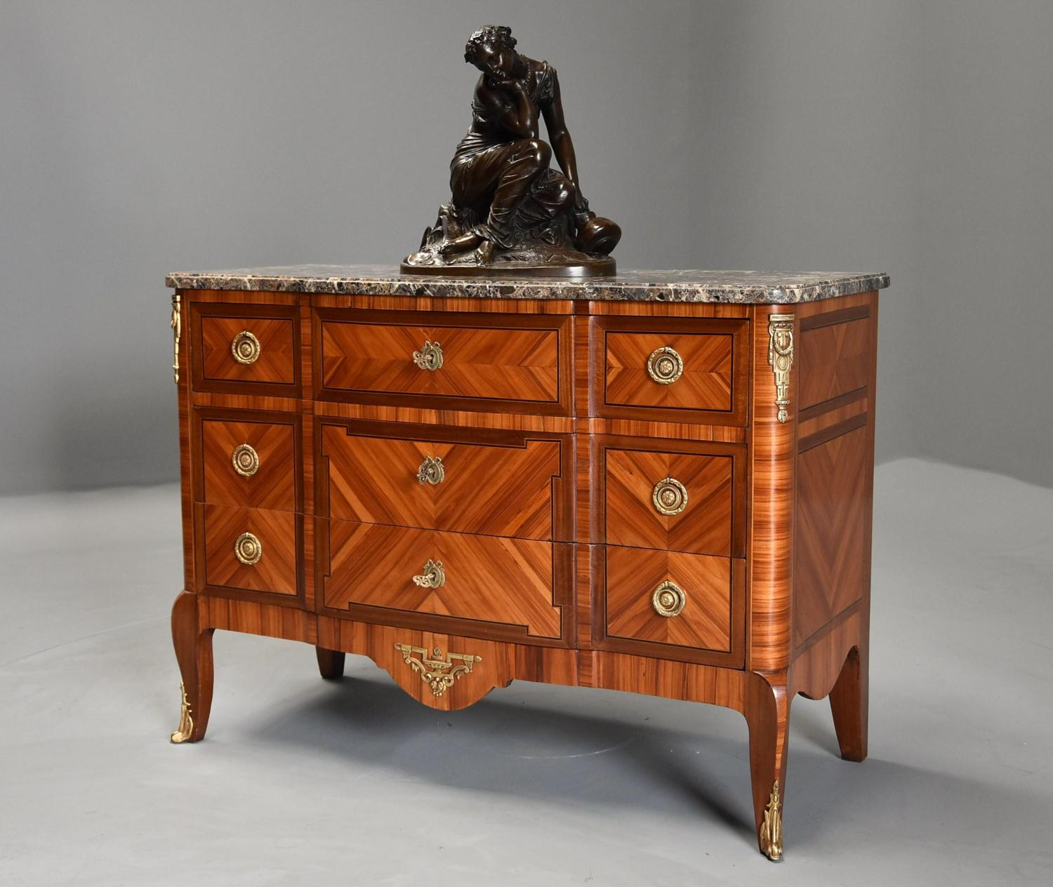 French late 19th century Louis XVI style Kingwood breakfront commode