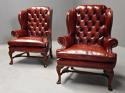 Pair of Georgian style deep buttoned red leather wing armchairs - picture 1