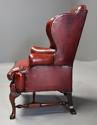 Pair of Georgian style deep buttoned red leather wing armchairs - picture 11