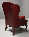 Pair of Georgian style deep buttoned red leather wing armchairs - picture 12