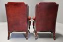 Pair of Georgian style deep buttoned red leather wing armchairs - picture 13