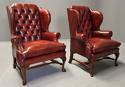 Pair of Georgian style deep buttoned red leather wing armchairs - picture 2