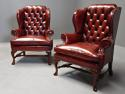 Pair of Georgian style deep buttoned red leather wing armchairs - picture 3