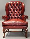 Pair of Georgian style deep buttoned red leather wing armchairs - picture 4