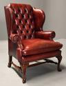 Pair of Georgian style deep buttoned red leather wing armchairs - picture 6