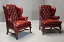 Pair of Georgian style deep buttoned red leather wing armchairs - picture 7